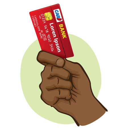 Illustration represents the close-up of a hand holding a credit card, African descent. Ideal for financial campaigns