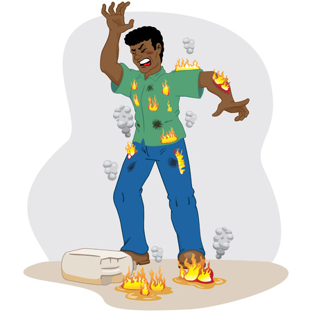 Illustration represents safety at work, Afrodescending worker catching fire after an accident with inflammable product. Ideal for work safety and educational materials
