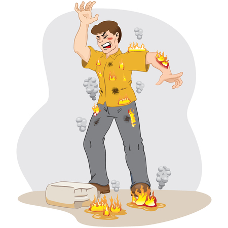 Illustration represents safety at work, caucasian worker man catching fire after an accident with inflammable product. Ideal for work safety and educational materials Illustration