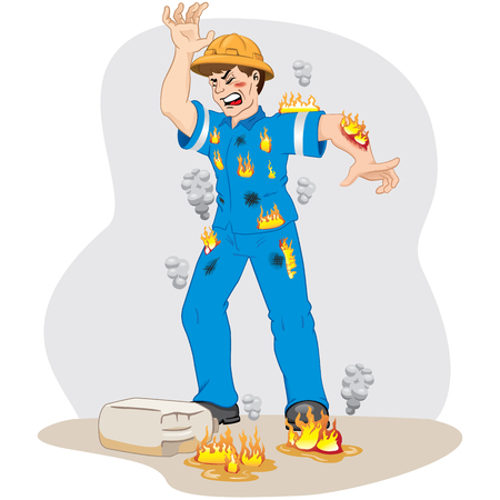 Illustration represents safety at work, worker man catching fire after an accident with inflammable product. Ideal for work safety and educational materials