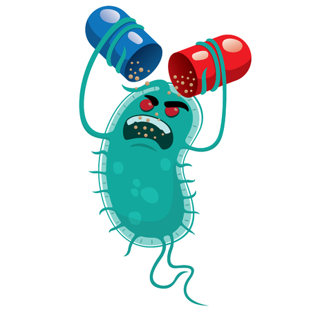 Illustration depicts a super bug microorganism, drug resistant or antibiotic. Ideal for informational and medicinal materials Vectores