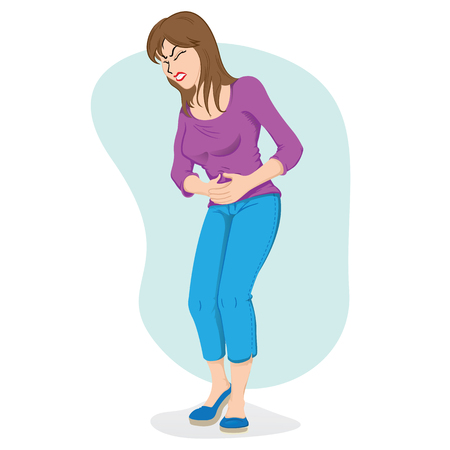 Illustration of woman with pain in the stomach, belly. Ideal for medical and educational materials Stock Illustratie