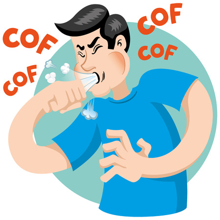 Illustration depicts a character Caucasian man with cough symptoms. Ideal for health and institutional information Stock Illustratie