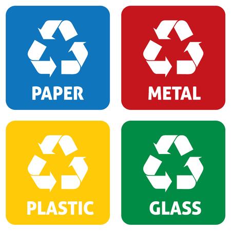 Illustration icons recycling symbols. Illustration