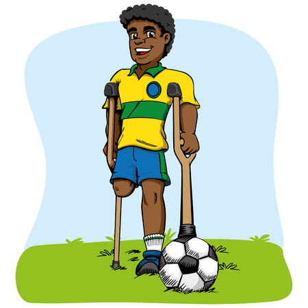 unable: Illustration of afrodescendant mascot, one-legged football player adapted. Ideal for medical and educational materials Illustration