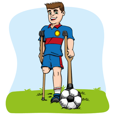 Illustration of caucasian mascot, one-legged football player adapted. Ideal for medical and educational materials