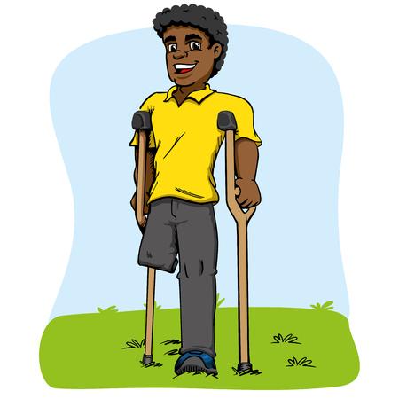 Illustration of African descent mascot, one-legged and crutches. Ideal for medical and educational materials Vektoros illusztráció