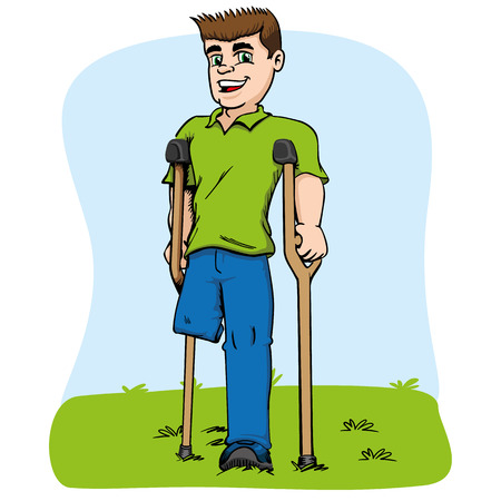Illustration of caucasian mascot, one-legged and crutches. Ideal for medical and educational materials