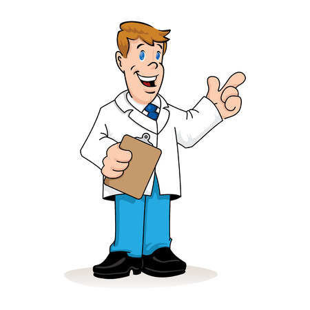 Illustration depicting a caucasian man in a lab coat, doctor, teacher or pharmacist with a clipboard in his hand explaining something. Ideal for institutional materials and training