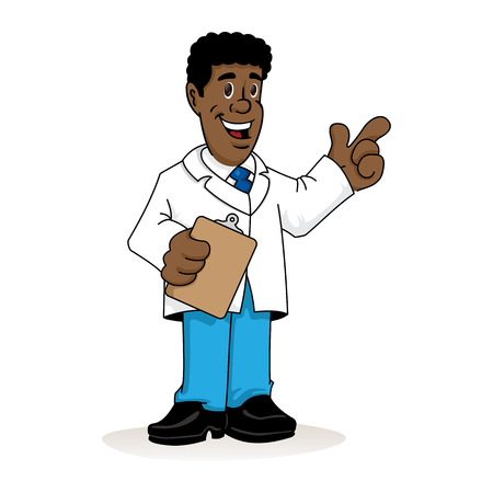 Illustration depicting an afro-descendant man in a lab coat, doctor, teacher or pharmacist with a clipboard in his hand explaining something. Ideal for institutional materials and training Illustration