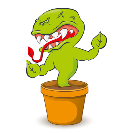 Representing cartoon a carnivorous plant. Ideal for informative and educational materials