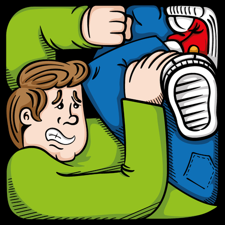 incarcerated: Cartoon of a person representing man in anguish, in tight space, prone in difficulties. Ideal for informative and educational materials