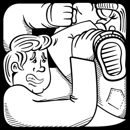 incarcerated: Cartoon representation of a man person in anguish, in tight space, plundered in difficulties, coloring. Ideal for informative and educational materials