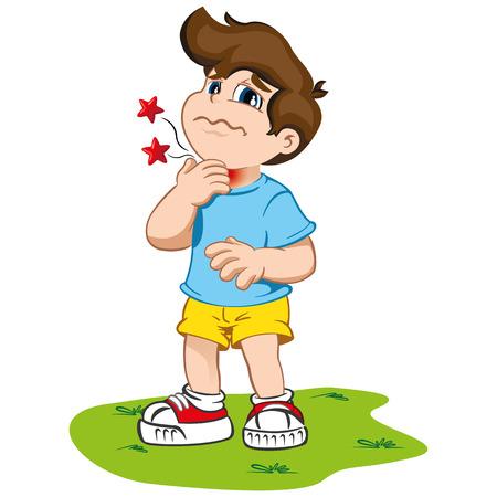 La ilustración representa un personaje infantil con síntomas de dolor de garganta y garfio. Ideal para información sanitaria e institucional Ilustración de vector