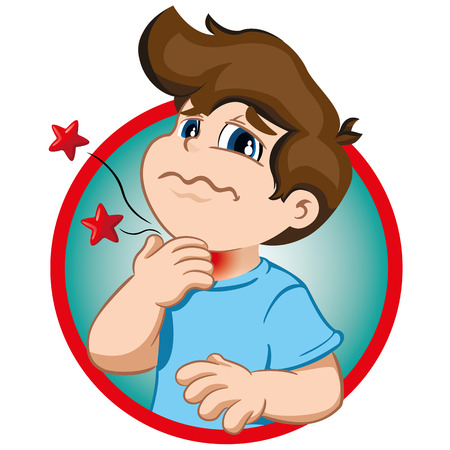 Illustration depicts a child character with tuft, throat pain symptoms. Ideal for health and institutional information