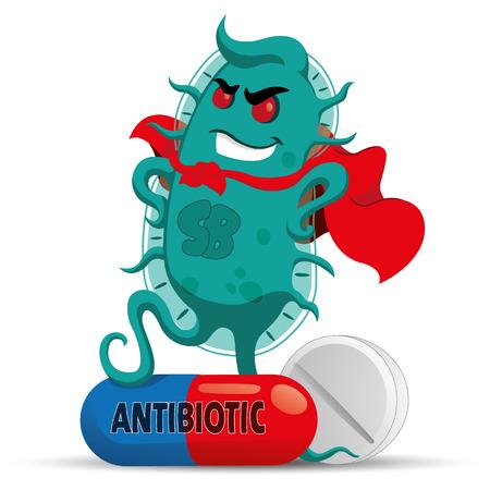 Der Cartoon stellt einen Superbug Mikroorganismus mit einer Superbösewichtkappe dar, stark und resistent wegen der Medizin oder des Antibiotikums. Ideal für informative und medizinische Materialien