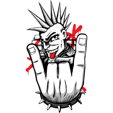 Person man representing the punk movement, with mohawk hair making horns with his fingers and tongue out. Ideal for materials on culture and social movements