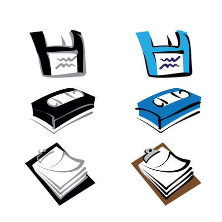 Icon pictogram, floppy disk, cassette tape and clipboard. Ideal for catalogs, information and institutional desk material
