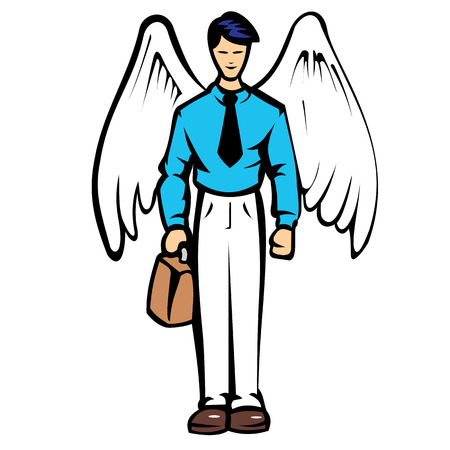 Illustration of a man in social clothing with wings.