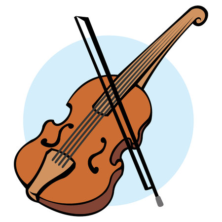 Illustration of object musical instrument, violin. Ideal for educational and institutional educational materials