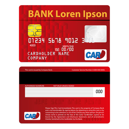Illustration represents a credit or debit card, red. ideal for promotional and institutional campaigns