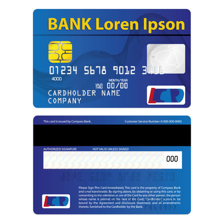 Illustration represents a credit or debit card, blue. ideal for promotional and institutional campaigns