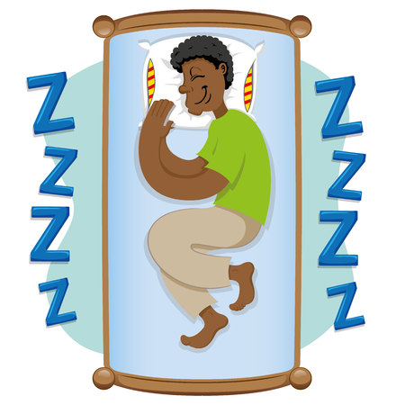 Afro-descendant man, sleeping peacefully. Ideal for informational and institutional related to medicine. Illustration
