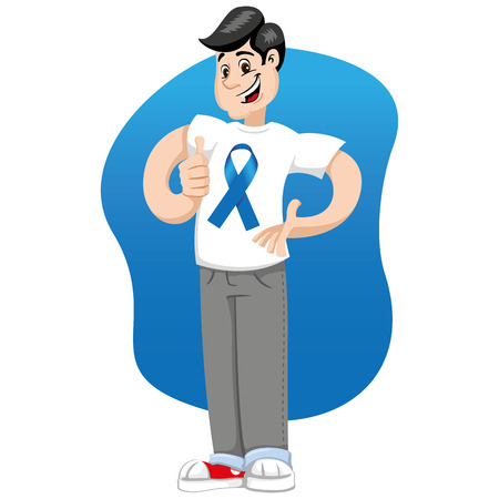 Male mascot supporting Movember blue against prostate cancer, wearing a white shirt with blue tape. Ideal for educational materials and information