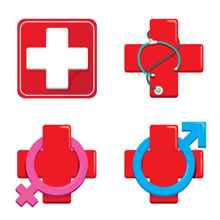 Icon representing hospital. Vetores