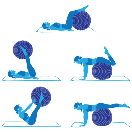 Woman doing exercises and physiotherapy gym with pilates ball material.