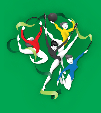 Illustration is a gymnast person, various forms of artistic gymnastics. Ideal for educational materials, sports and institutional
