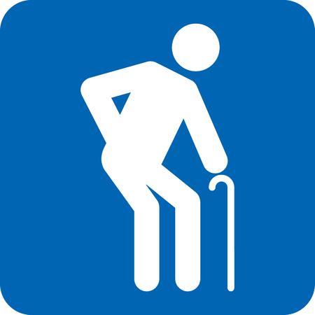 Elderly icon pictogram in blue illustration.