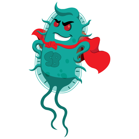 Concept of resistance to antibiotics. Creature superbug a microorganism with cover of super villain. Ideal for informational and medicinal materials on ineffective antibacterial therapy Illustration