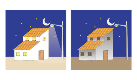 Illustration depicts a house with and without light. Ideal for training and institutional material