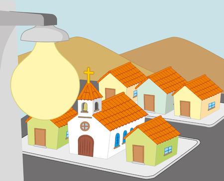 図は、照明付きの家屋のブロックを表しています。  イラスト・ベクター素材