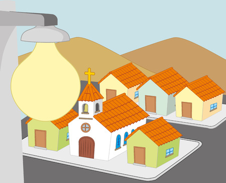 Illustration represents a block of houses with lighting.