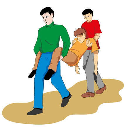 First aid two people carrying fainted person. Ideal for catalogs, informational and medical guides and training