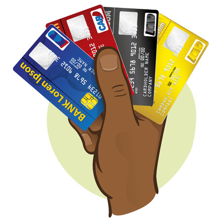 Illustration is the close of a hand holding a credit card, African descent. Ideal for financial campaigns
