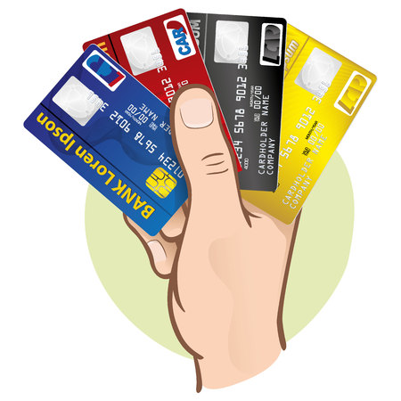 Illustration represents the close-up of a hand holding a credit card, Caucasian. Ideal for financial campaigns Illustration
