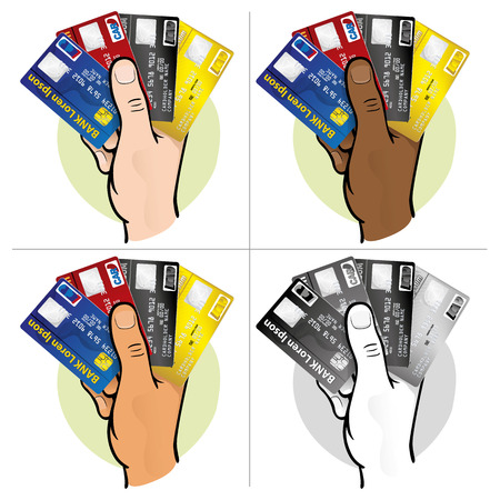 Illustration represents the close up of a hand holding a credit card, ethnicity. Ideal for financial campaigns Vetores