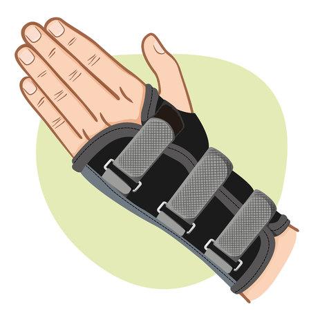 splint: Illustration depicts  wrist hand.
