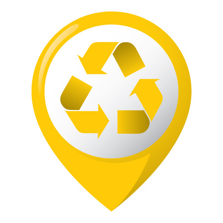 representing: Icon representing recycling location, metal, yellow. Ideal for catalogs, informative and recycling guides. Illustration