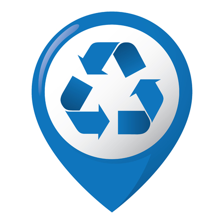 representing: Icon representing recycling location, paper, blue. Ideal for catalogs, informative and recycling guides.