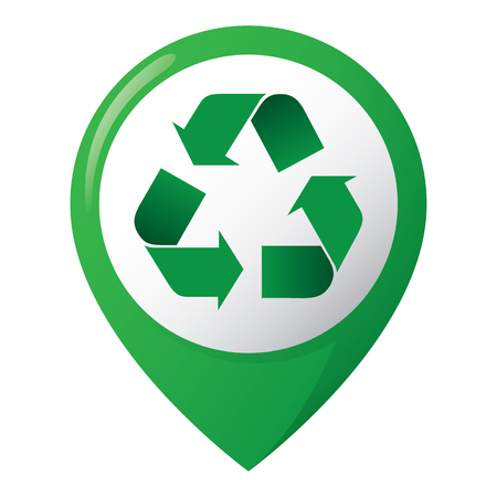 Icon representing recycling location, green. Ideal for catalogs, informative and recycling guides.