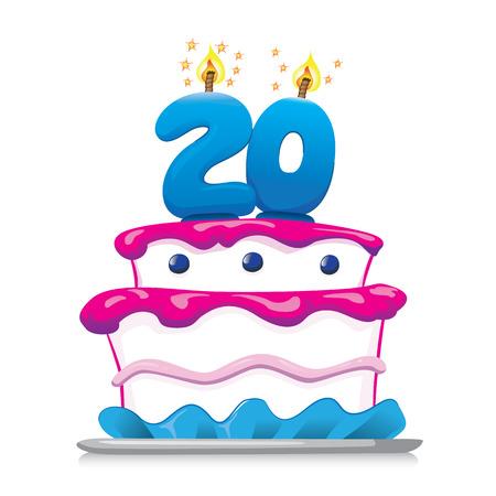 甘い食べ物の誕生日ケーキのイラスト、20 年。記念と機関情報のための理想