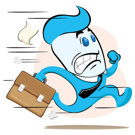 Illustration of a blue office executive mascot, running with a briefcase in hand fleeing or delaying. Ideal for training, internal and institutional matters. Illustration