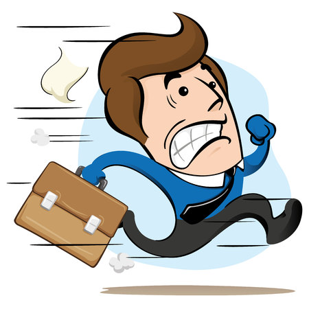 Illustration of a mascot manager, executive, running with a briefcase in hand fleeing or delaying. Ideal for training, internal and institutional matters. Vetores