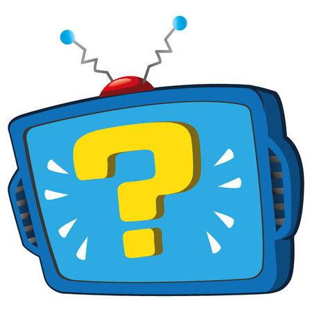 Illustration is a monitor screen or TV, with question symbol. Ideal for catalogs, information and institutional material