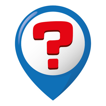 Icon representing location of doubts and questions. Ideal for catalogs, informative and recycling guides