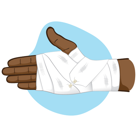 first aid illustration of hands with bandage on the palm and wrist area, African descent. Ideal for medical, informative and institutional catalogs Illustration
